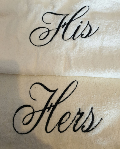 Personalised his-hers cream bath  towel gift set